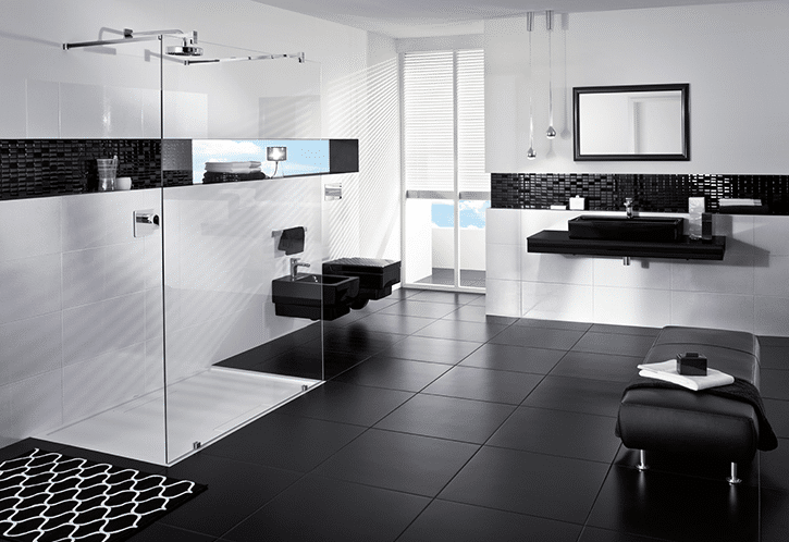 Black and white wet room with walk-in shower