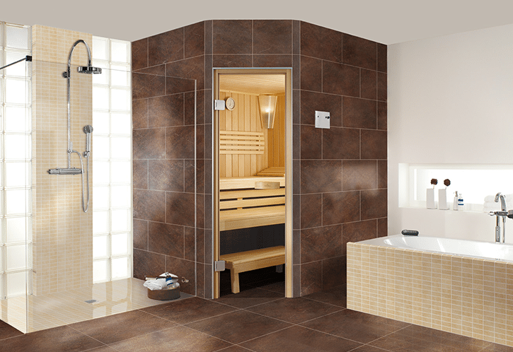 large Brown tiles on a corner shower in a wet room